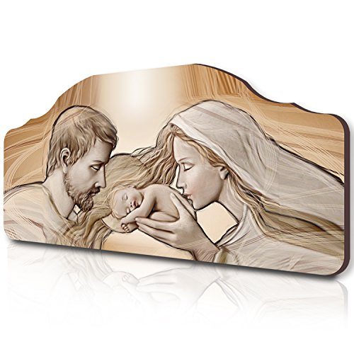 Lupia quadro capezzale sacro holy kiss brown su tavola lavorata, 42x92 cm