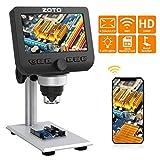 Microscope USB WiFi, ZOTO 4,3 Pouces LCD, 1000X, 1080P Microscopes Numérique Enfant avec Mémoire 32G Support Métallique 8LED Compatibles avec Les Téléphones Intelligents Mac PC