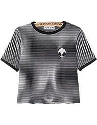 Uideazone Las niñas adolescentes linda de la cosecha de Alien Top mujeres adelgazan las camisetas de manga corta de la camiseta