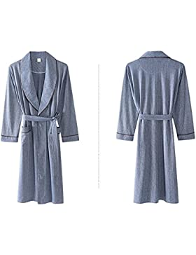 SUxian Gran Albornoz de algodón de los Hombres de Manga Larga Bata de Dormir Albornoz camisón Pijama