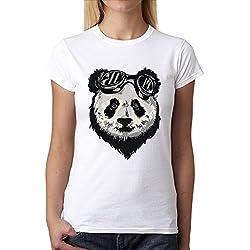 Panda Oso Gafas Mujer Camiseta Blanco S