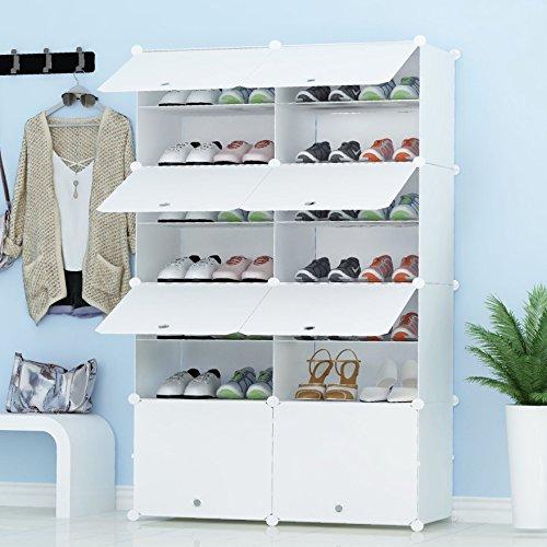 PREMAG Organisateur de Rangement pour Chaussures Portable, Blanc, étagère modulaire pour Gagner de...