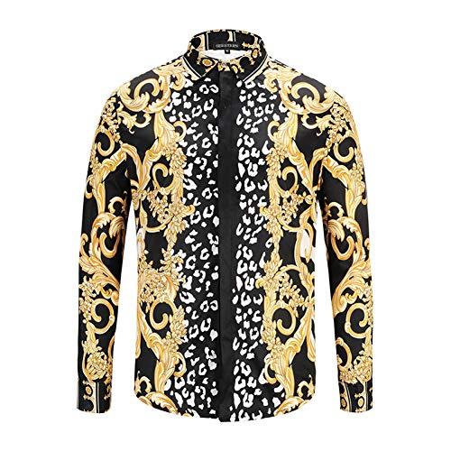 CHENS Camisa/Casual/Unisex/M Ropa Flores Doradas Rayas de Cebra Camisas de Moda para Hombre Camisas de Manga Larga Camisetas de algodón Oneck