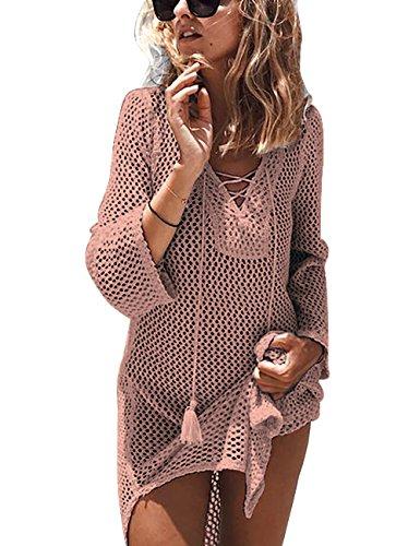BaiShengGT Damen Einfarbig Gestrickt Strandkleid Sommer Strandponcho Badeanzug Bikini Cover Up Pink One Size passt S-M (Damen Crochet)