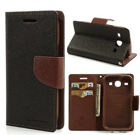 CHL Imported Mercury Fancy Wallet Dairy Flip Case Cover for Vivo V3-Black-Brown