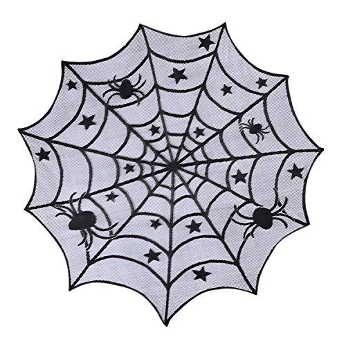 LAEMILIA Halloween Tischdecke Spinnennetz Stern Spitze Weihnachts Deko Tisch Dekoration Gothic Style Horror Büffet Grusel Bankett Tafeldeko