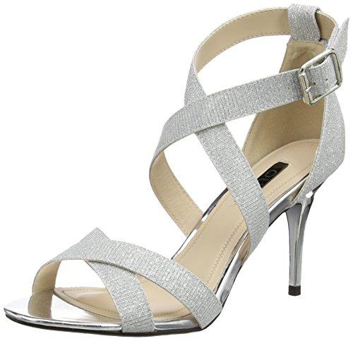 Quiz Damen Shimmer Strappy Sandalen mit Absatz, Silberfarben, 36 EU