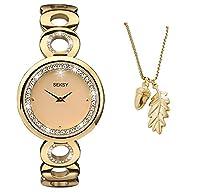 Sekonda Seksy Crystal Eclipse Gold Dial Stainless Steel Bracelet Ladies Watch 2078 + Acorn & Oak Leaf Pendant Free Gift