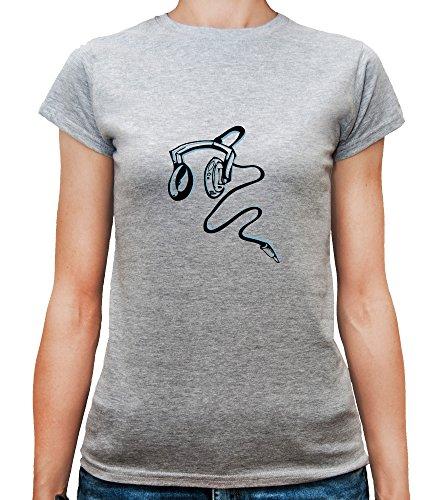 Mesdames T-Shirt avec Noir et bleu écouteurs imprimé. Gris