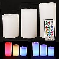 Frostfire Mooncandles-Trois bougies en résine résistantes aux intempéries pour l'intérieur et l'extérieur avec minuterie et télécommande et changement de couleur, dimensions 10cm / 12cm / 14cm