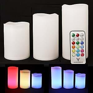 Frostfire Moon Candles–Trois wetterfeste Résine Bougies pour intérieur et extérieur avec minuterie et télécommande et changement de couleur, grand 10cm/12cm/14cm