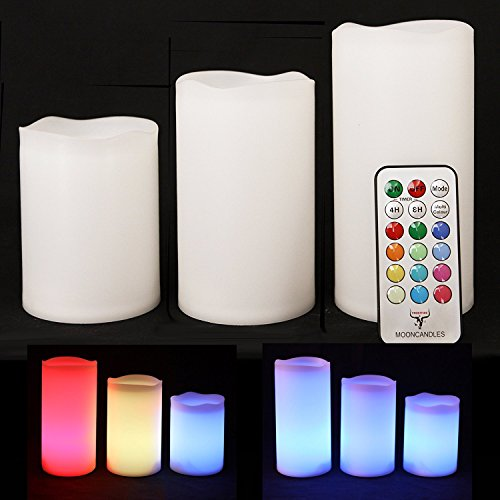 Tres velas de resina resistentes a la intemperie para el interior y el exterior con temporizador y control remoto y cambio de color, tamaño 10 cm / 12 cm / 14 cm Frostfire Mooncandles