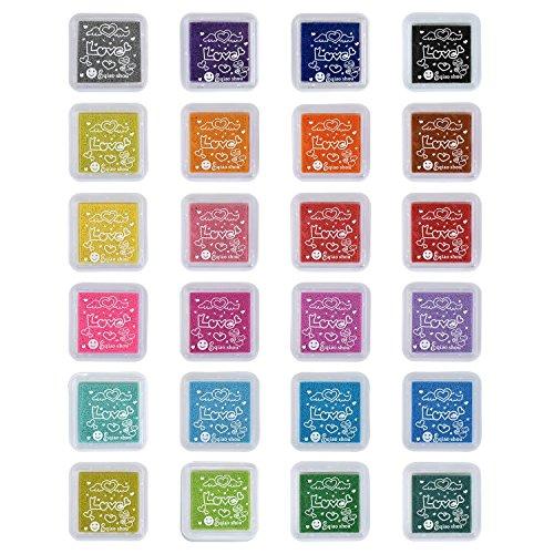 TFENG 24 Farben Stempelkissen Set, Wasserlöslich Fingerabdruck Stempel Pads Tinte, für Papier Handwerk Stoff, Scrapbook, Kinder Geburtstag Geschenk - 24s Set