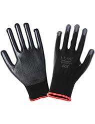 Moonuy Un par de guantes revestidos usables Unisex Automotriz Trabajar al aire libre en interiores Uso resistente al desgaste Anti-corte Guantes industriales de protección (Negro)