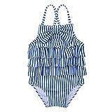 Agoky Baby Mädchen Badeanzug gestreift Bademode modische Bikini mit Rüschen Volants Tankini Schwimmanzug Schwimm Badefür Kinder gr. 68-104 Blau&Weiß 6-9 Monate(Etikette 65)