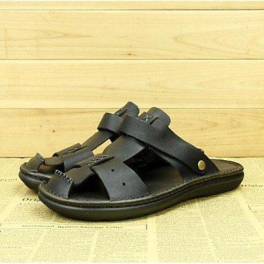 L'été, hommes sandales talon plat extérieur similicuir noir jaune Black