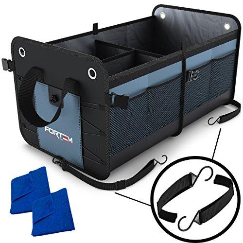 Garage Storage-base (Fortem robuster, zusammenklappbarer Kofferraum-Organizer für Autos, SUVs und Lkws, mit Riemen und rutschfester Unterseite, die ein Verrutschen mit Microfaser-Tüchern verhindert)