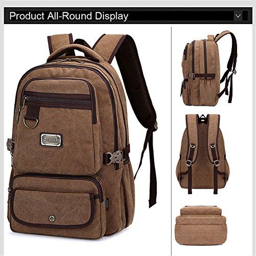 Ranbow Zaino multiuso della tela cotone lavato escursionismo Daypack 15 'Laptop Ipad Borsa, Nero Cachi