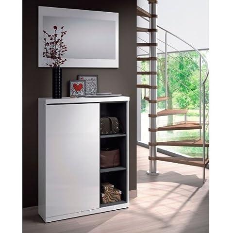 Habitdesign 0G6749BO - Recibidor zapatero con espejo, acabado Blanco Brillo y Ceniza, medidas 79 x 108 x 25 cm de