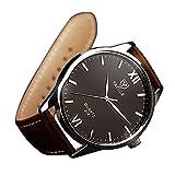 YaZhuoLun Herren Uhren Legierung PU-Leder 10 Meter Wasserdicht Römische Ziffern Geschäftsuhr Armbanduhr(Braun)