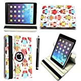 """FOR AMAZON KINDLE FIRE HD 7"""" VARIOUS PU LEATHER WITH SLEEP/WAKE STANDBY MAGNETIC CASE COVER POUCH + STYLUS BY GSDSTYLEYOURMOBILE (Multi Birds Owels)"""