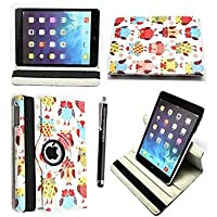Kamal Star KINDLE FIRE HD 8 2015 Case, Leather Wallet flip cover,back stand cover,Full Body protection tablet cover by (Design 02 Multi Owl)