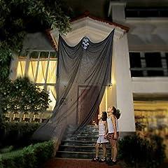 Idea Regalo - AOFOX Puntello di Halloween Ghost Appeso Scheletro Volante Ghost, 3,3 m di Lunghezza Decorazioni sospese di Halloween per Bar da Festa in Giardino (Nero)