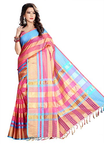 Asavari Pink Organza Cotton Blend Chequered Reversible Saree  available at amazon for Rs.899