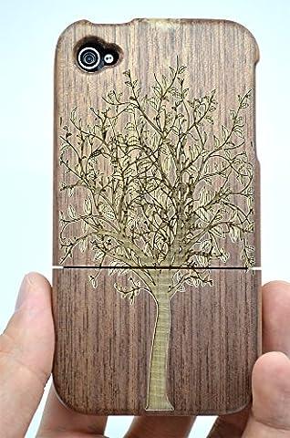 Holzsammlung® iPhone 4S/4 Holzhülle - Walnuss Weihnachtsbaum - NatürlicheHandgemachteBambus / Holz Schutzhülle für Ihr Smartphone