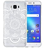 Sunrive® Coque Pour Asus Zenfone 3 Max Plus ZC553KL 5,5 pouces, Housse Étui Etui Protecteur Protection souple Ultra Mince transparent TPU Gel Silicone Cover Case(tpu Fleur blanche)+ STYLET OFFERTS