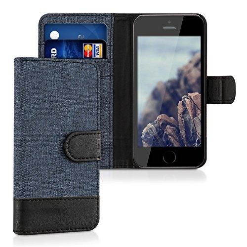 kwmobile Custodia portafoglio per Apple iPhone SE / 5 / 5S - Cover in simil pelle a libro Flip Case con porta carte funzione appoggio blu scuro nero