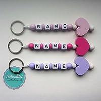 Schlüsselanhänger mit Namen Kinder Gravur Muttertag Schultasche Rucksack Kindergartentasche Herz Schlüsselring mit Name | Mädchen Rosa Pink Flieder Namenskette
