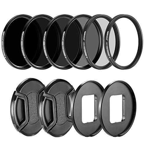 Galleria fotografica Neewer fotocamera lenti filtro kit per GoPro Hero 5: (4) Filtro neutro ND (ND4/ND8/ND16/ND32), (1) Filtro UV, (1) Filtro CPL, (2) Lens Cap, (2) obiettivo anello adattatore