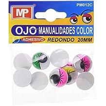 MP PM012C - Set de ojos móviles redondos adhesivos con parpado en color, ...