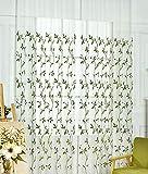 Seite Bside Modern Style Home Dekorationen Voile Drapes Vorhänge, Gardinen Leaf Ast Rod Taschen bestickt für Esszimmer Kinder- und Schlafzimmer (1Panel, W 52x l 213,4cm, grün), Polyester-Mischgewebe, grün, 52W x 63L Inch, 1 Panel