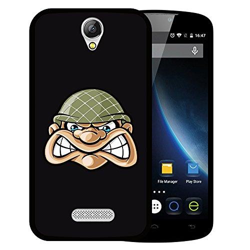 WoowCase Doogee X6 - X6 Pro Hülle, Handyhülle Silikon für [ Doogee X6 - X6 Pro ] Kopf Soldat Handytasche Handy Cover Case Schutzhülle Flexible TPU - Schwarz