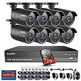 SANNCE Videoüberwachung HD 8CH 1080P Überwachungskamera Set CCTV System TVI 2.0MP DVR Recorder Überwachungssystem + 8 Außen 1080P Überwachungskamera für innen und außen Bereich mit 2TB HDD Nachtsicht 30 Meter