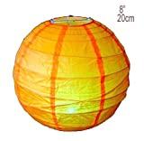 Lampenschirm aus Reispapier, kugelförmig, 20cm, Orange, 1 Stück