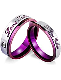 Beydodo Couples Rings for Him and Her Set Size H 1/2-V 1/2 Love Token Cubic Zirconia Purple Red Silver