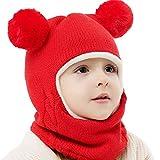 MRULIC Baby Schal Set Warme Mütze Strickmütze Unifarbe Wintermütze Unisex Kinder Beanie Mütze Schlauchschal Set Lätzchen(Rot,40-52CM)