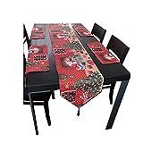 HQdeal Tischläufer Rot Weihnachten und Tischsets VIntage für Küchentisch Tischwäsche Abwaschbar Set Wohnzimmertisch Gartentisch Tischband