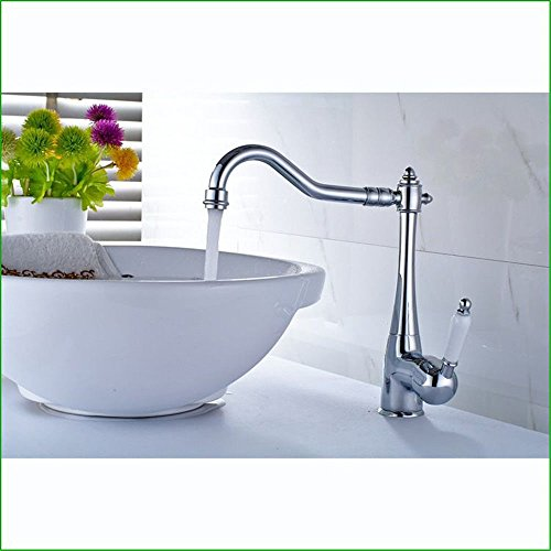 Küchenarmatur Spültischarmatur Küchenarmatur Kupfer Verchromt Waschbecken Wasserhahn Küche Spüle Wasserhahn Bad Heiß- und Kalt-Mischarmatur Drehbarer Wasserhahn mit UK-Standardarmaturen