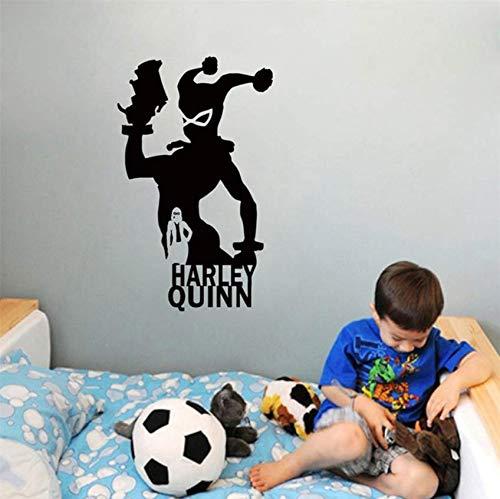 Harley Quinn Superheld Vinyl Wandaufkleber Abziehbilder Kinder Kinder Schlafzimmer Anime Comics Kunst Aufkleber Wandbild Dekoration 56x93cm