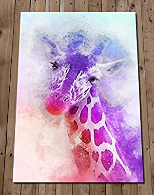 Purple Giraffe Head Print - Colourful Wall Art Watercolour Painting - Gift Idea - Safari Nursery Decor - Poster - Animal Lover
