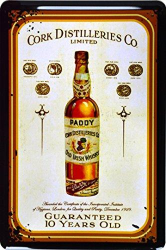 Retro Wandschild Designer Schild Paddy Old Irish Whiskey 10 Jahre Alt Deko 20x30cm Nostalgie Metal Sign XSPR7WA