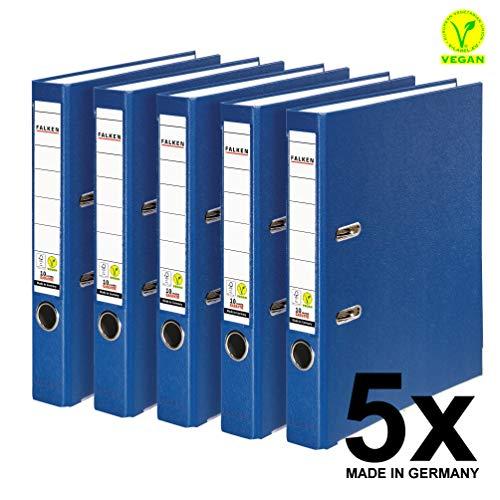 Original Falken 5er Pack PP-Color Kunststoff-Ordner. Made in Germany. 5 cm schmal DIN A4 blau Vegan Ringordner Aktenordner Briefordner Büroordner Plastikordner Schlitzordner