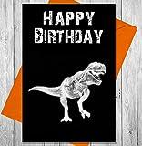 Geburtstagskarte Dinosaurier T-Rex–Einzigartiges Kreidetafel Effekt Grußkarte