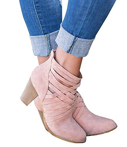 Minetom Frauen Damen Frühling Chunky Blockabsatz Heel Chelsea Runde Kappe Ankle Bootie Stiefeletten Stiefel B Pink EU 39 (Booties Damen Heel Chunky)