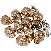 dailymall 10 Piezas Remache de Metal Tornillos de Reparación de Cuero Remaches de Cráneo para DIY Ropa - Oro