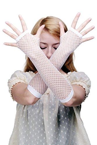 DRESS ME UP Karneval Fasching Handschuhe Netzhandschuhe Fishnet Gloves Weiß Punk Wave Goth Sexy Braut 80er Z068